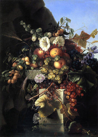 Adelheid Dietrich Still Life with Grapes, Peaches, Flowers and a Butterfly - Hand Painted Oil Painting
