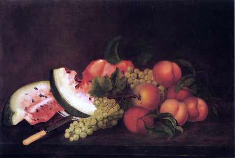 Rubens Peale Still Life with Grapes, Watermelon, and Peaches - Hand Painted Oil Painting