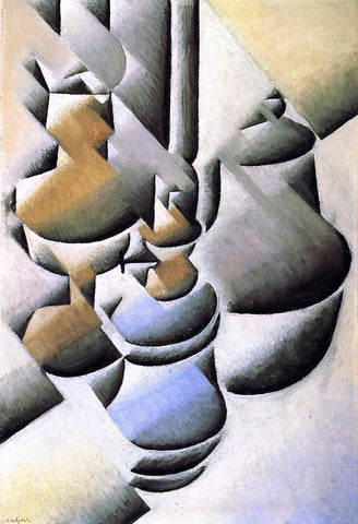 Juan Gris Still Life with Oil Lamp - Hand Painted Oil Painting