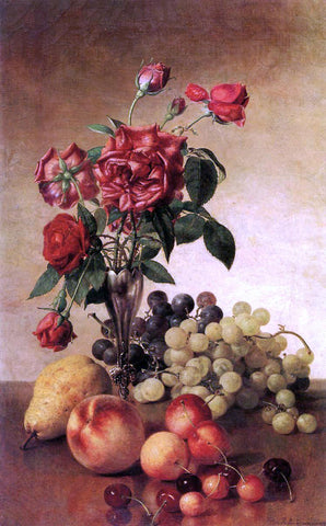 Robert Spear Dunning Still Life with Roses and Fruit - Hand Painted Oil Painting