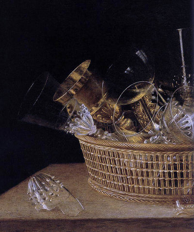 Sebastien Stoskopff Still-Life of Glasses in a Basket (detail) - Hand Painted Oil Painting