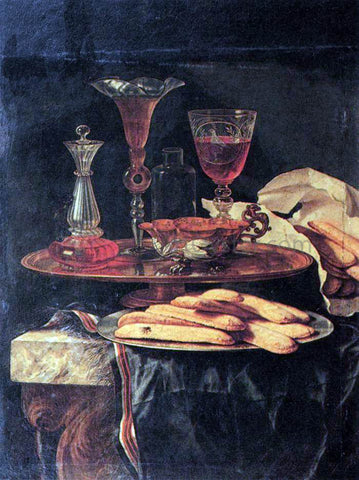 Christian Berentz Still-Life with Crystal Glasses and Sponge-Cakes - Hand Painted Oil Painting