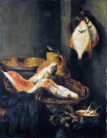 Abraham Van Beyeren Still-Life with Fish in Basket - Hand Painted Oil Painting