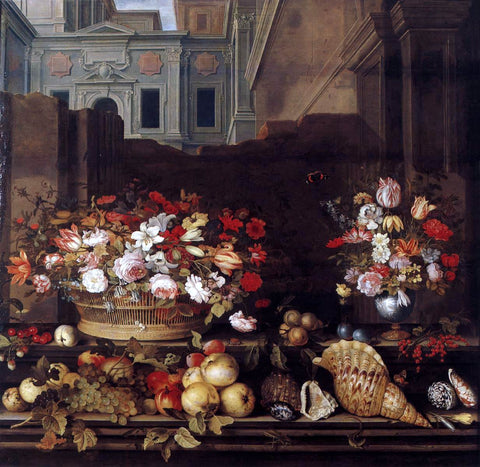 Balthasar Van der Ast Still-Life with Flowers, Fruit, and Shells - Hand Painted Oil Painting