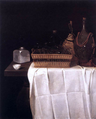 Sebastien Stoskopff Still-Life with Glasses and Bottles - Hand Painted Oil Painting