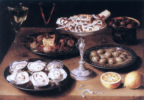 Osias Beert Still-Life with Oysters and Pastries - Hand Painted Oil Painting
