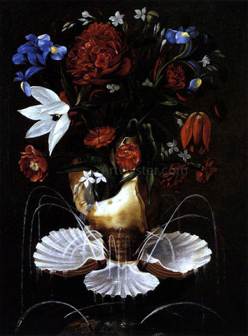 Juan De Espinosa Still-Life with Shell Fountain and Flowers - Hand Painted Oil Painting