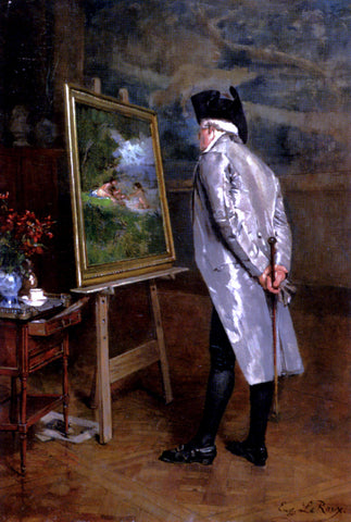 Louis-Eugene Leroux The Connoisseur - Hand Painted Oil Painting