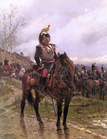 Alphonse De Neuville The Hussars - Hand Painted Oil Painting