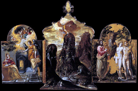 El Greco The Modena Triptych (back panels) - Hand Painted Oil Painting