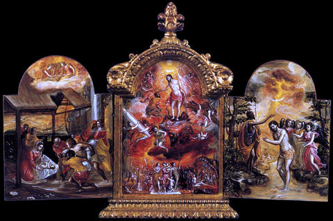 El Greco The Modena Triptych (front panels) - Hand Painted Oil Painting