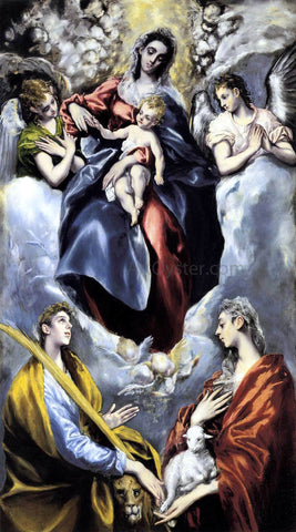 El Greco The Virgin and Child with St Martina and St Agnes - Hand Painted Oil Painting