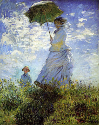 Claude Oscar Monet The Walk, Woman with a Parasol - Hand Painted Oil Painting