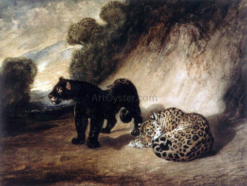 Antoine-Louis Barye Two Jaguars from Peru - Hand Painted Oil Painting