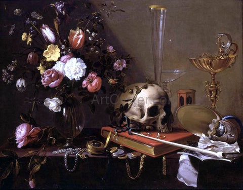 Adriaen Van Utrecht Vanitas Still-Life with a Bouquet and a Skull - Hand Painted Oil Painting