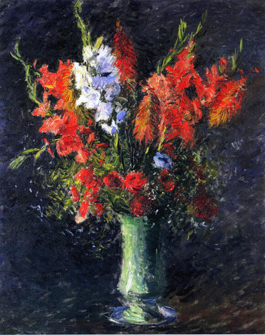 Gustave Caillebotte Vase of Gladiolas - Hand Painted Oil Painting