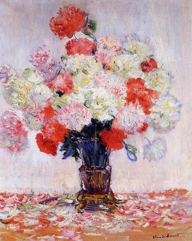 Claude Oscar Monet Vase of Peonies - Hand Painted Oil Painting