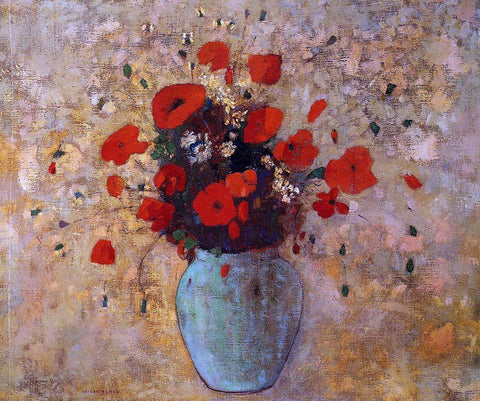 Odilon Redon Vase of Poppies - Hand Painted Oil Painting
