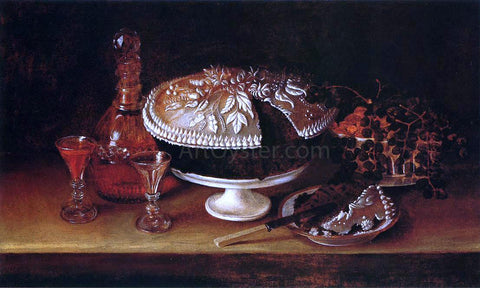 Rubens Peale Wedding Cake, Wine, Almonds, and Raisins - Hand Painted Oil Painting