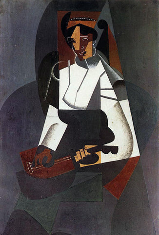 Juan Gris Woman with a Mandolin (after Corot) - Hand Painted Oil Painting