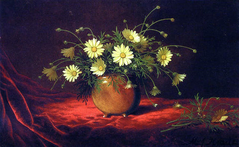Martin Johnson Heade Yellow Daisies in a Bowl - Hand Painted Oil Painting