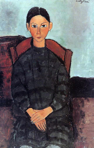Amedeo Modigliani Young Girl in a Black Apron - Hand Painted Oil Painting