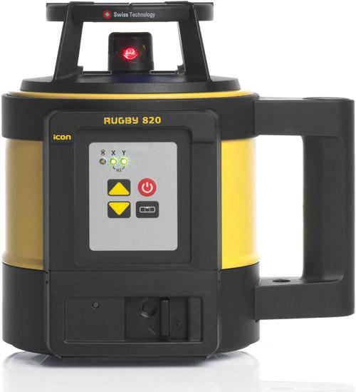 Black and Yellow Leica Rugby 820 with its self-levelling rotary laser