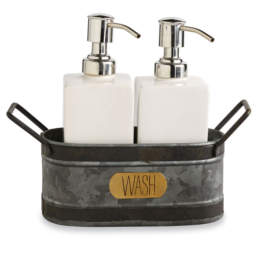 Galvanized Tin Soap Caddy Set