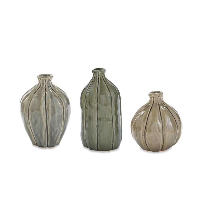 Green Crackle Stoneware Vases Set of 3