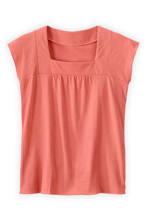 fair trade organic Cap Sleeve Square Neck Tee desert rose