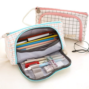 Canvas Kawaii Pencil Case - Large Capacity!