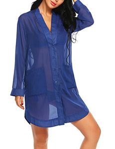 Avidlove Women's Sleep Shirt Long Sleeve Pajama Top Dress Button-Front Nightshirts