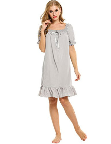 Avidlove Womens Cotton Victorian Vintage Short Sleeve White Classic Nightgown Sleepwear,Gray1,Small