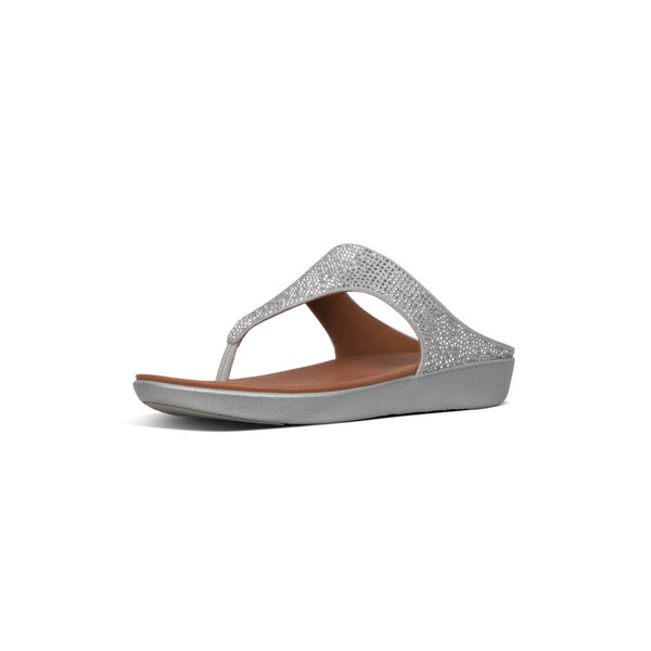 FITFLOP SPARKLY SILVER FLIP FLOP BANDA CRYSTALLED