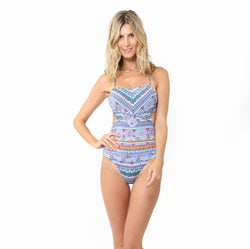 SUNSEEKER SWIMSUIT WITH CUT OUT SIDES ETHNIC GYPSY