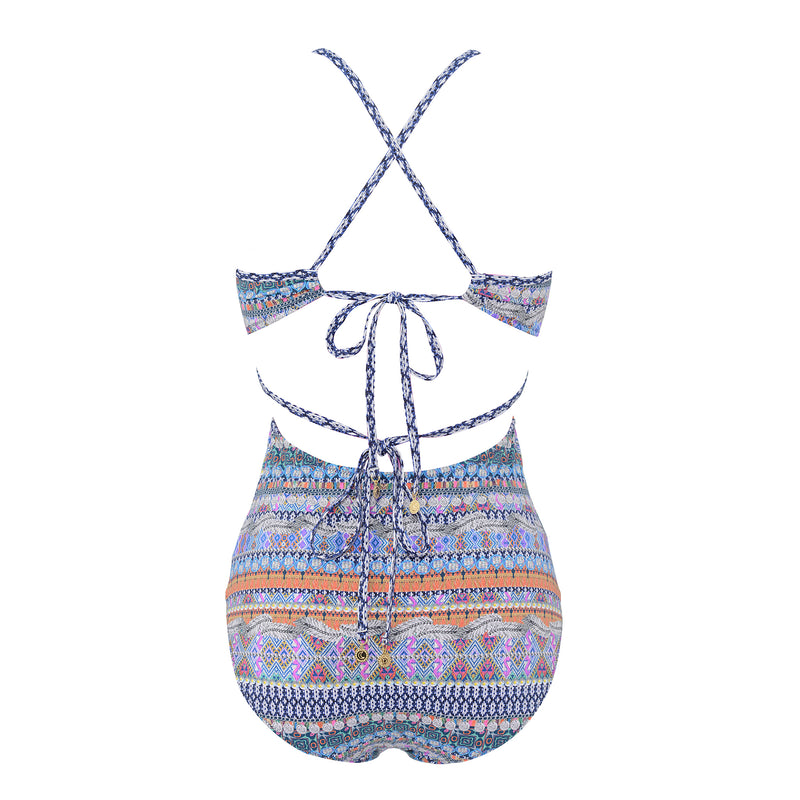 SUNSEEKER SWIMSUIT CUT OUT SIDES GYPSY PRINT