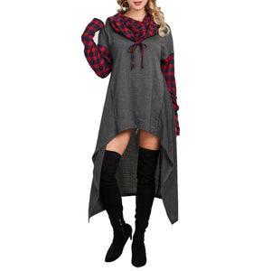 Casual Plaid Collage Long Hoodie