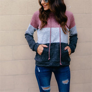 Fashion Three Color Stitched Long Sleeved Hoodie