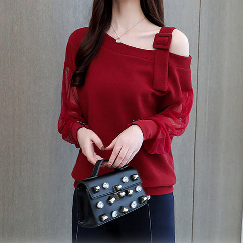 Casual Sexy Off Shoulder Lace Splicing Hoodie Blouse