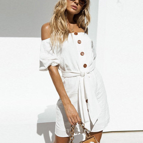 Casual Sexy Off The   Shoulder Short Sleeve Mini Dresses