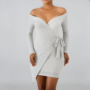 Casual Sexy V Neck Off   The Shoulder Knitted Sweater Mini Dresses