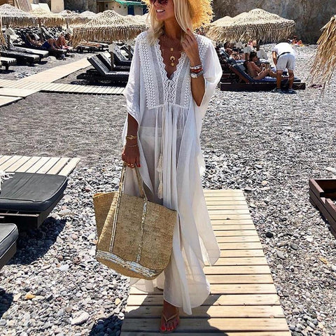V-Neck See Through Vacation Maxi Dress
