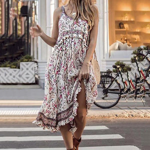 Women's Casual Round Neck Floral Pattern Sleeveless Dress