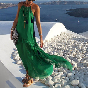 Casual Spaghetti Strap Floor-Length Ruffled Sling Dress