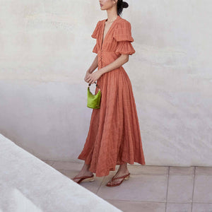 Elegant V Neck Bishop Sleeve Pleated Pure Colour Dress