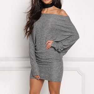 Casual Sexy Collar Sleeves Knitted Sweater Mini Dress