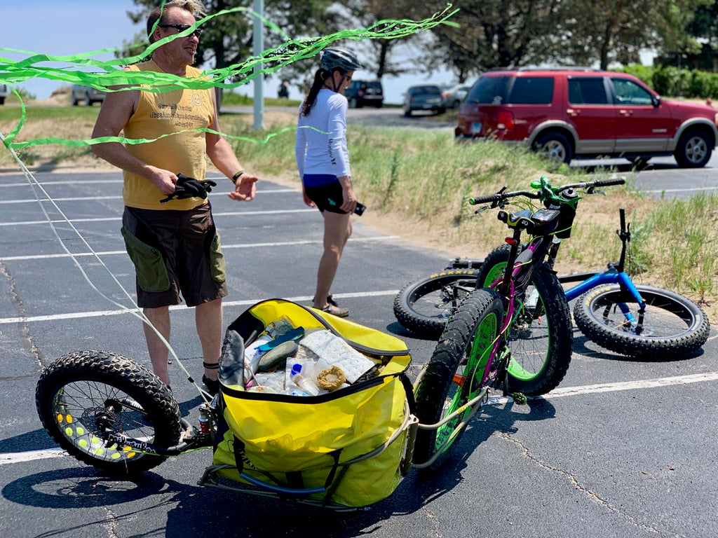 Dave's Fat BOB trailer was the ticket for the Fat-bike Beach Cleanup at Illinois State Beach in Zion