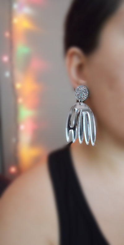 Silver Glitter Matisse Statement Earrings, Laser Cut Acrylic Jewelry