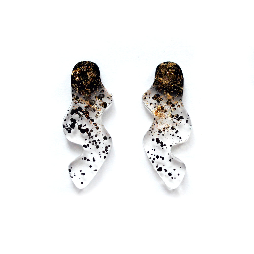 Black and Gold Glitter Ombre Squiggle Stud Earrings