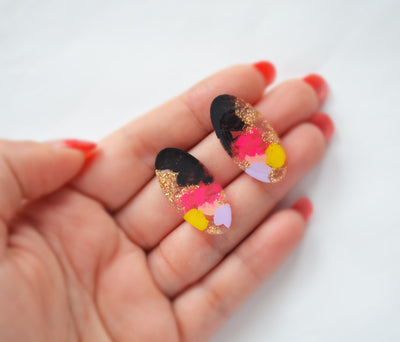 Pink and Black Oval Resin Stud Earrings